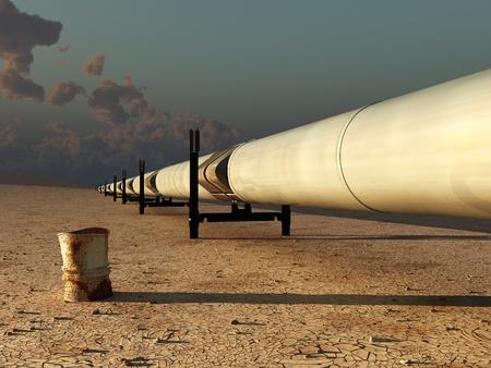 transporte terrestre: tubería en el desierto