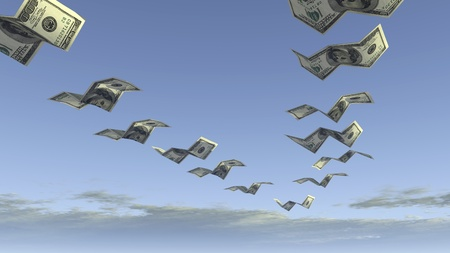 lost money: flock of dollar fly away  Stock Photo