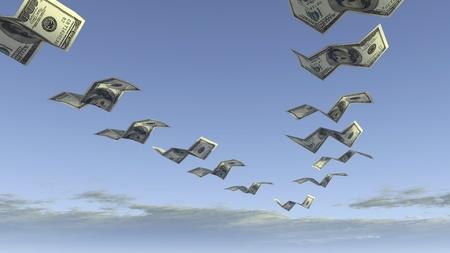 flock of dollar fly away