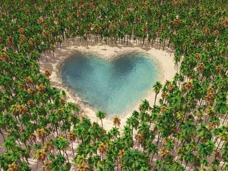 heart-shaped lake in the middle of tropical forest photo