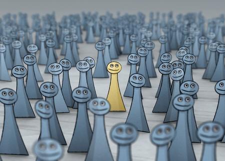distinguish: man in a good mood in grey crowd