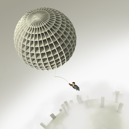 man flying: businessman flight on balloon