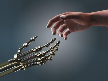 homme et le robot mains secourables