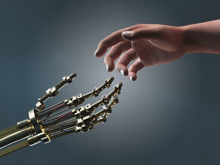 human and robot helping hands photo