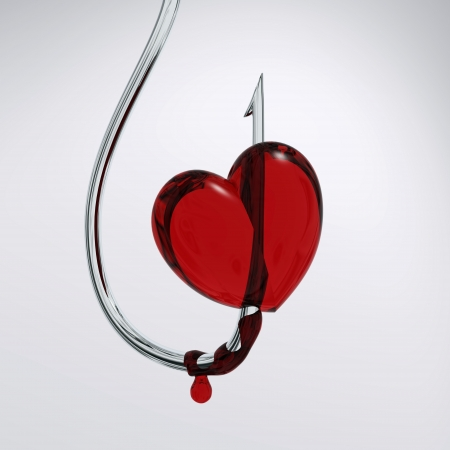 s trap: bloody heart on a hook  Stock Photo