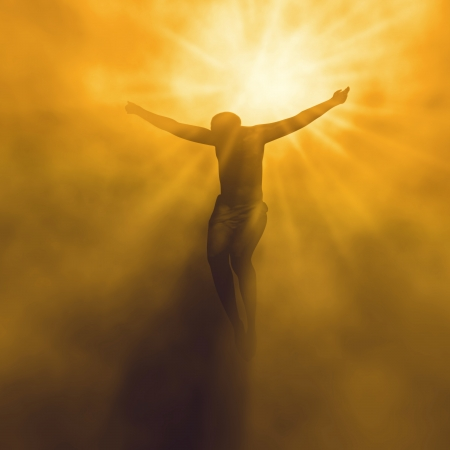 cross light: Jesus christ in heaven  Stock Photo