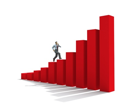 stage chart: businessman run up on graph  Stock Photo