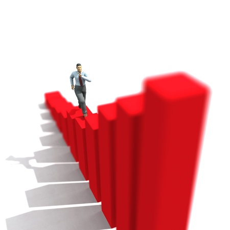 ascending: businessman run up on graph  Stock Photo