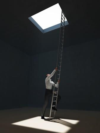 man escape from dark room