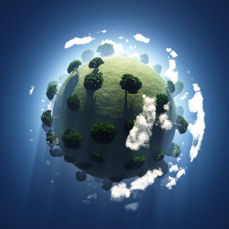 protection of land: green planet from space