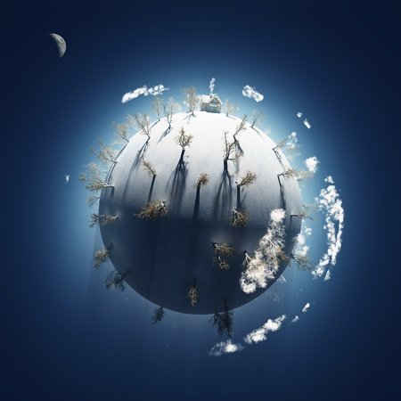 winter on small planet  Stock Photo