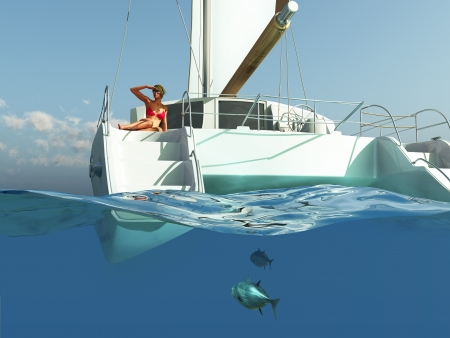 catamaran: woman relaxing on yacht  Stock Photo
