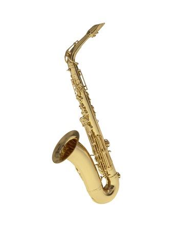 woodwind instrument: golden saxophone  Stock Photo