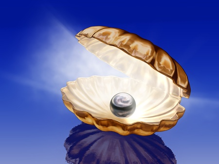 pearl shell: pearl in open seashells