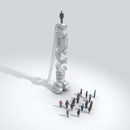 bovenaanzicht mens: succesvolle zakenman op een top