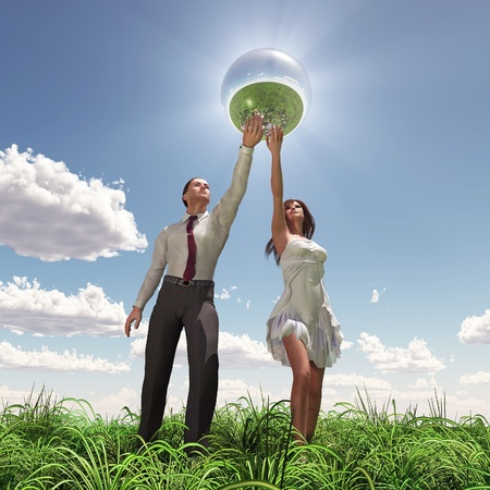 hands holding globe: man and woman holding globe