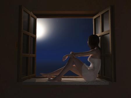 woman sitting on windowsill at moon night  Stock Photo - 11545463