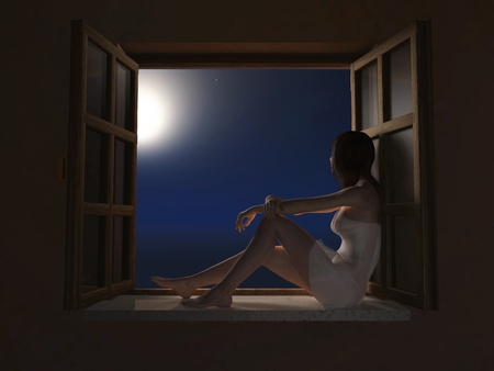 woman sitting on windowsill at moon night Stock Photo - 11545463