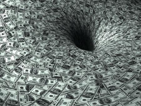 derrumbe: de dólares de flujo en un agujero negro