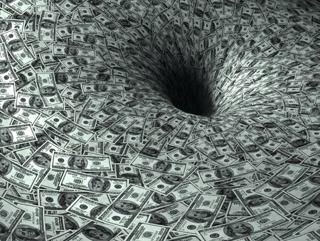 einsturz: Dollar flie�en in schwarzes Loch Lizenzfreie Bilder