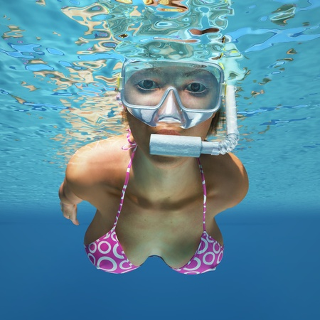 divers: underwater woman