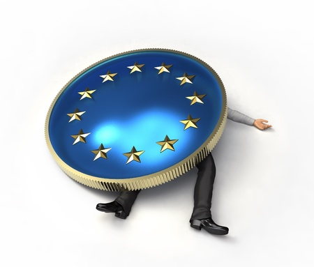 european union currency: man crushed by a European Union
