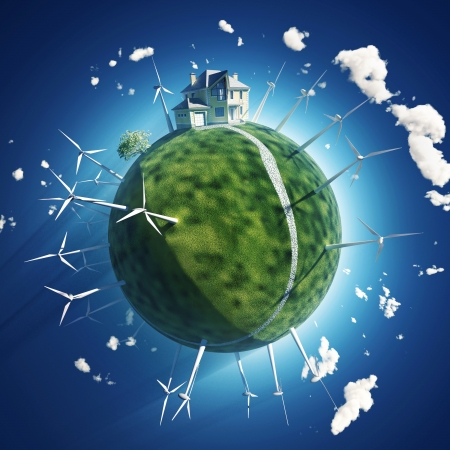 house and wind turbine on green planet photo