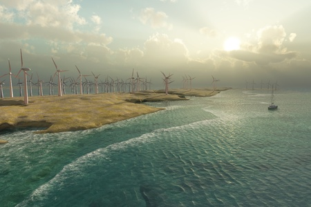 Wind Turbines in the seascape photo