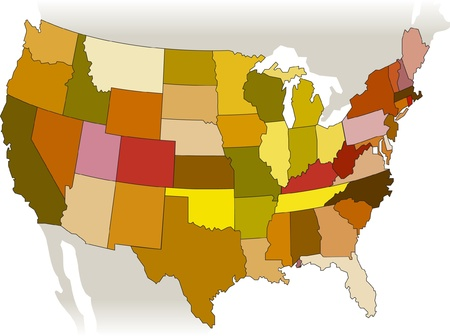 frontier: USA vector map  Illustration