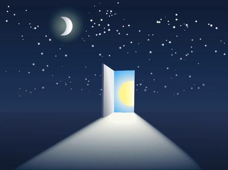 abrir la puerta en el cielo Ilustración de vector
