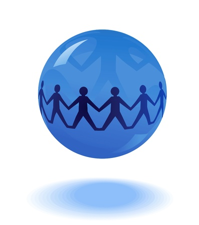 hands holding earth: paper people chain in blue globe  Illustration