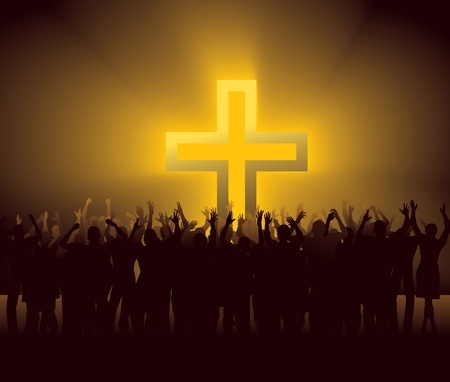 jesus hands: group of people around glowing Cross