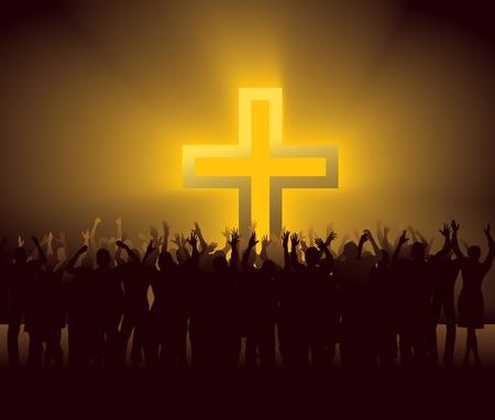 personas orando: grupo de personas alrededor de la Cruz que brilla intensamente