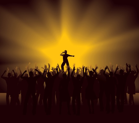 Cheering Crowd at pop star concert Stock Vector - 12284691