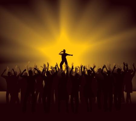 rock hand: Folla plaudente al concerto pop star