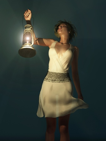 woman with a lantern wandering in the dark Stock Photo - 12648450