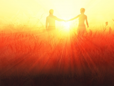 couple holding hands: romantic couple at sunrise