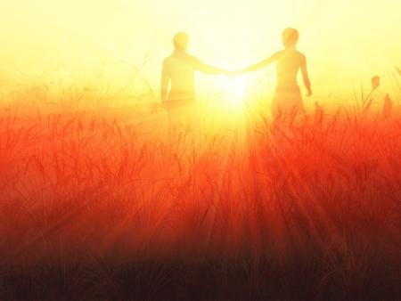 couple WALKING: romantic couple at sunrise