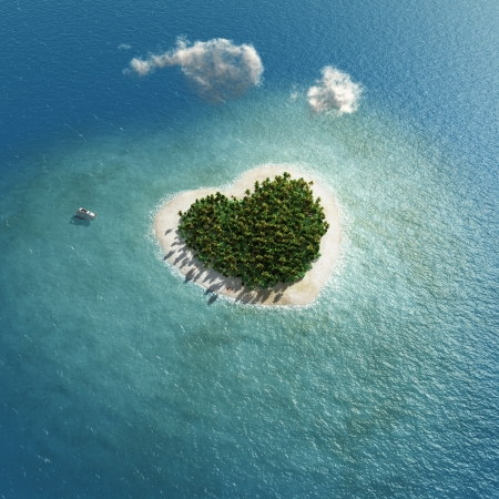 paradise: heart-shaped tropical island