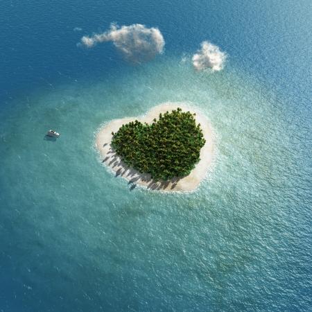shape heart: heart-shaped tropical island