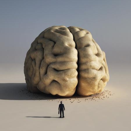 Mann vor dem großen Gehirn