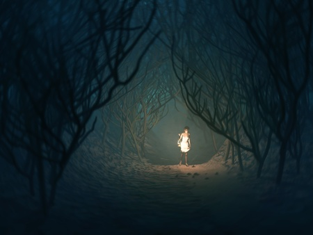 alone in the dark: woman with lamp in the dark forest