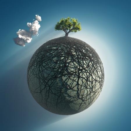 boom wortels: boomwortels die de planeet Stockfoto