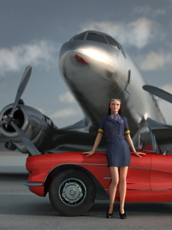 woman, car, airplane photo