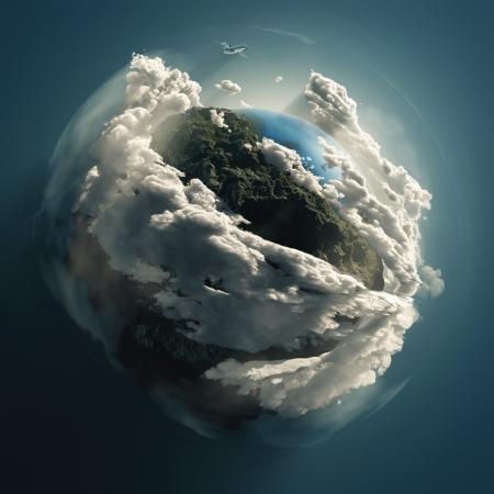 Flugzeug fliegt über die Erde