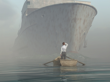 ahogarse: hombre en el barco mirando al acercarse buque Foto de archivo