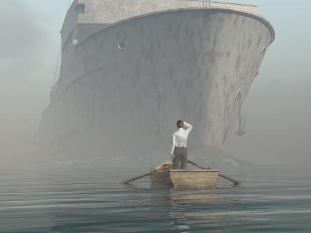 Mann im Boot suchen bei Annäherung an Behälter
