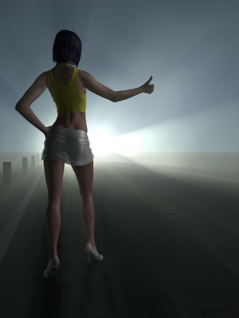 hitchhiking: Hitchhiking girl in the night