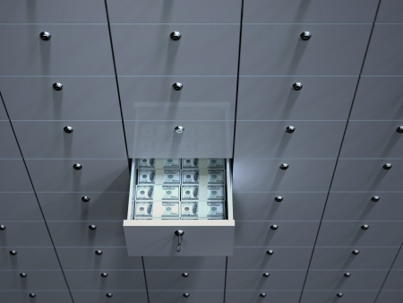 safety box: Open cell with money in safety deposit box