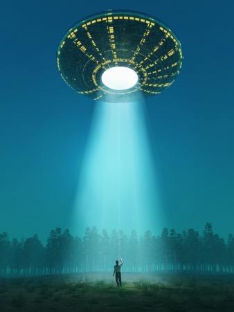 fliegende Untertasse kam Standard-Bild